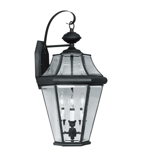 Livex Lighting Georgetown 3 Light Outdoor Wall Lantern in Black 2361-04 photo