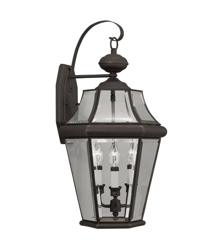 Livex Lighting Georgetown 3 Light Outdoor Wall Lantern in Bronze 2361-07 photo