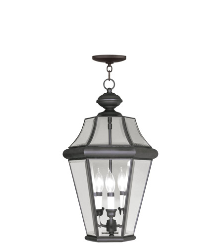 Livex 2365-07 Georgetown 3 Light 13 inch Bronze Outdoor Hanging Lantern photo