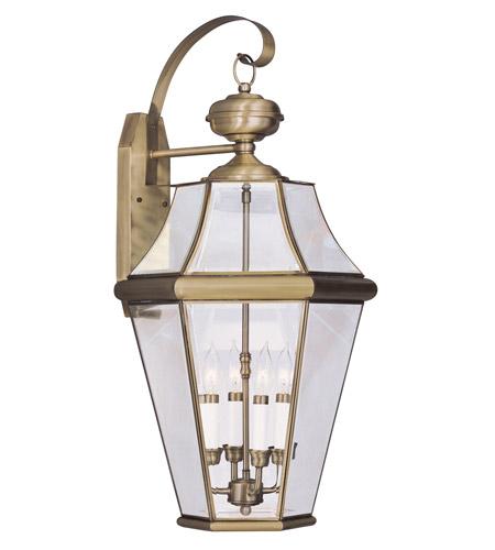 Livex Lighting Georgetown 4 Light Outdoor Wall Lantern in Antique Brass 2366-01 photo