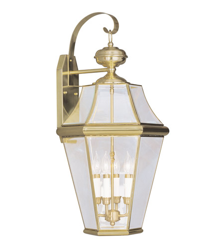 Livex 2366-02 Georgetown 4 Light 30 inch Polished Brass Outdoor Wall Lantern photo
