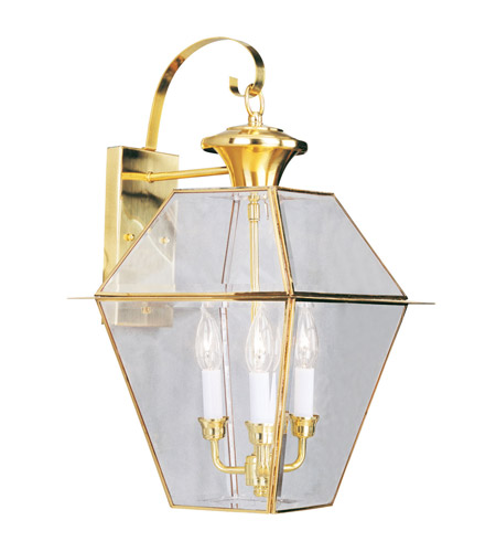 Livex 2381-02 Westover 3 Light 23 inch Polished Brass Outdoor Wall Lantern photo