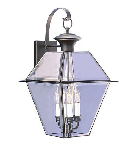 Livex Lighting Westover 3 Light Outdoor Wall Lantern in Black 2381-04 photo