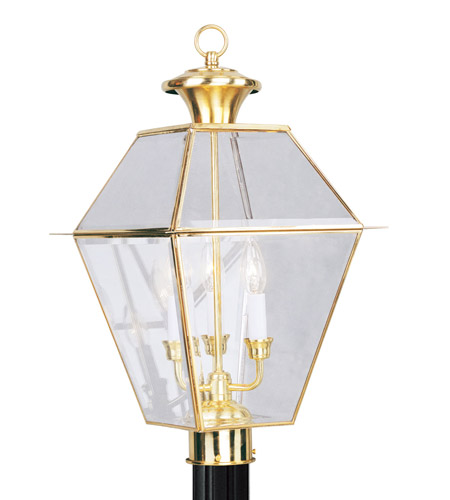 Livex Lighting Westover 3 Light Outdoor Post Head in Polished Brass 2384-02 photo