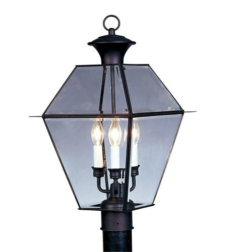 Livex Lighting Westover 3 Light Outdoor Post Head in Black 2384-04 photo