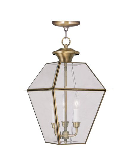 Livex 2385-01 Westover 3 Light 12 inch Antique Brass Outdoor Hanging Lantern photo