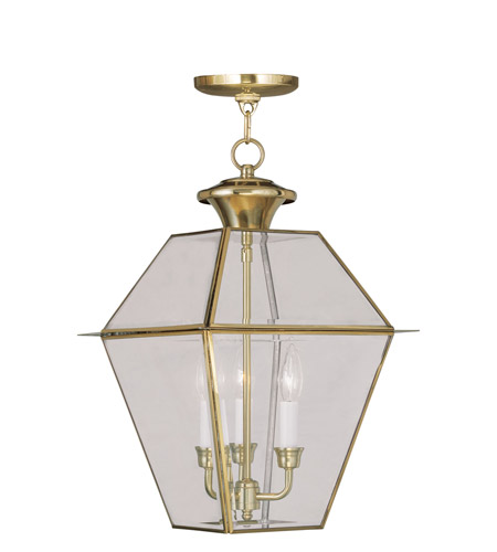Livex 2385-02 Westover 3 Light 12 inch Polished Brass Outdoor Hanging Lantern photo