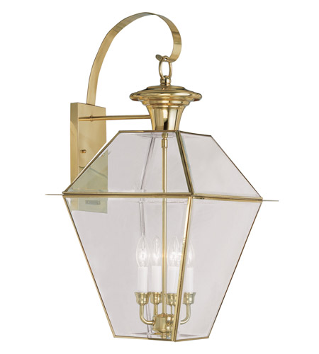 Livex Lighting Westover 4 Light Outdoor Wall Lantern in Polished Brass 2386-02 photo