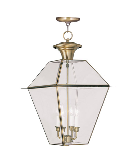 Livex 2387-01 Westover 4 Light 15 inch Antique Brass Outdoor Hanging Lantern photo