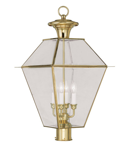 Livex 2388-02 Westover 4 Light 28 inch Polished Brass Outdoor Post Head photo