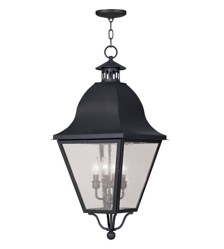 Livex Lighting Amwell 4 Light Outdoor Hanging Lantern in Black 2547-04 photo