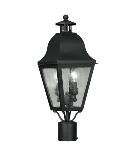Livex Lighting Amwell 2 Light Outdoor Post Head in Black 2552-04 photo