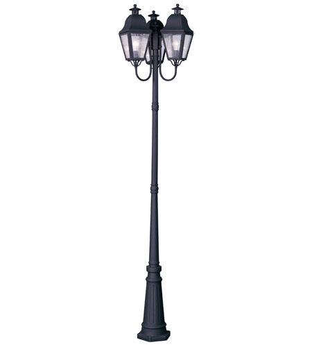 Livex 2553-04 Amwell 3 Light 99 inch Black Outdoor Post With Lights photo
