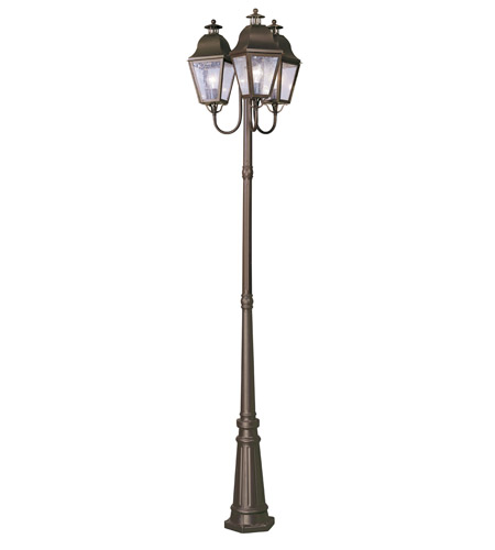 Livex Lighting Amwell 3 Light Outdoor Post With Lights in Bronze 2553-07 photo
