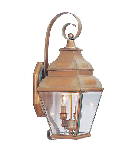 Livex Lighting Exeter 2 Light Outdoor Wall Lantern in Vintage Brass 2591-93 photo