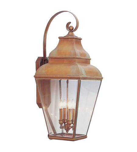 Livex Lighting Exeter 4 Light Outdoor Wall Lantern in Vintage Brass 2596-93 photo