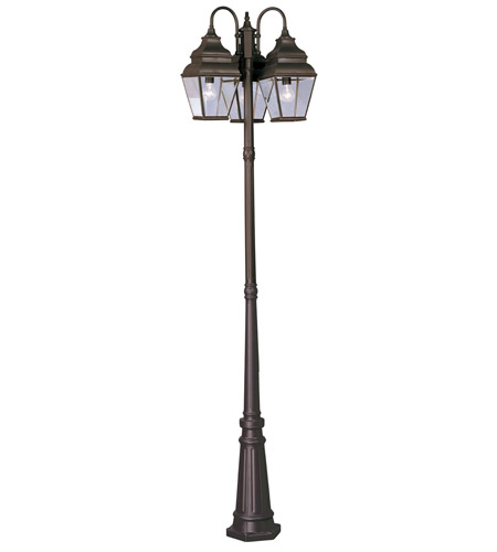Livex Lighting Exeter 3 Light Outdoor Post With Lights in Bronze 2599-07 photo