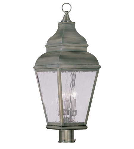 Livex Lighting Exeter 3 Light Outdoor Post Head in Vintage Pewter 2606-29 photo