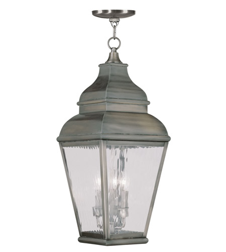 Livex 2610-29 Exeter 3 Light 10 inch Vintage Pewter Outdoor Hanging Lantern photo