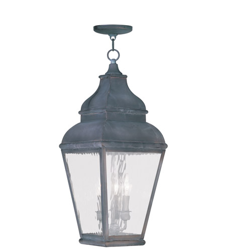 Livex Lighting Exeter 3 Light Outdoor Hanging Lantern in Charcoal 2610-61 photo