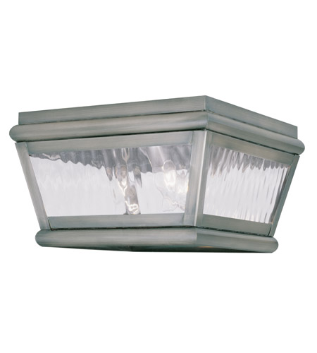 Livex Lighting Exeter 2 Light Outdoor Ceiling Mount in Vintage Pewter 2611-29 photo