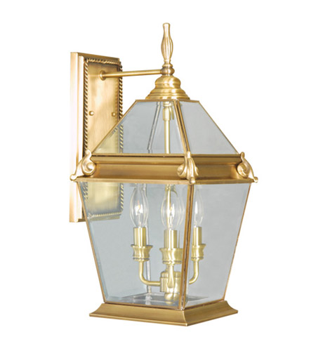Livex Lighting Fleur de Lis 3 Light Outdoor Wall Lantern in Flemish Brass 2615-22 photo