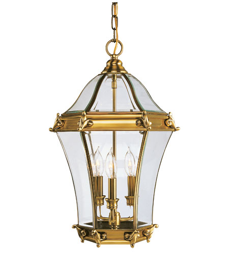 Livex Lighting Fleur de Lis 3 Light Outdoor Hanging Lantern in Flemish Brass 2625-22 photo