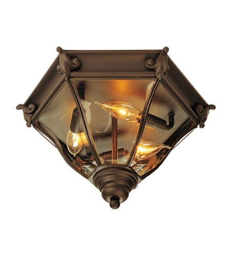 Livex Lighting Fleur De Lis 3 Light Outdoor Ceiling Mount In Bronze 2628 07
