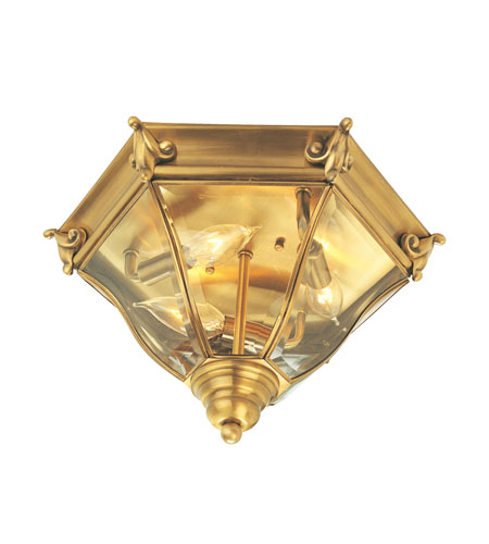 Livex Fleur de Lis 3 Light Outdoor Ceiling Mount in Flemish Brass 2628-22 photo