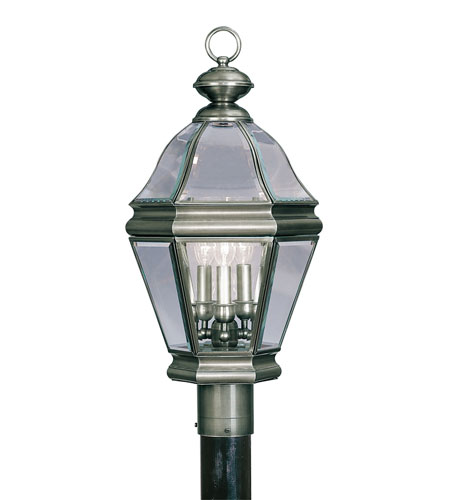 Livex Lighting Bradford 3 Light Outdoor Post Head in Vintage Pewter 2633-29 photo