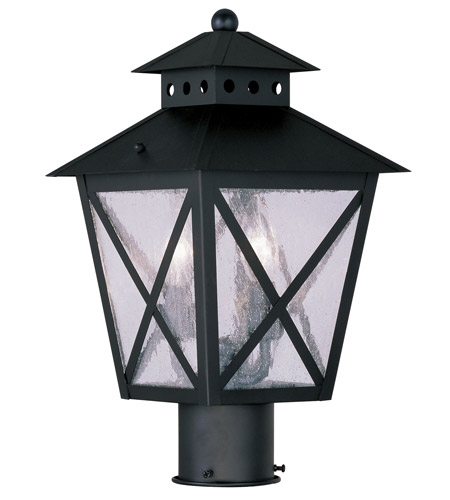 Livex Lighting Montgomery 2 Light Outdoor Post Head in Black 2673-04 photo