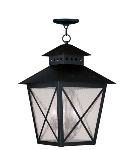 Livex Lighting Montgomery 3 Light Outdoor Hanging Lantern in Black 2677-04 photo
