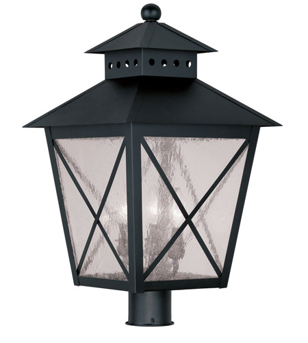 Livex Lighting Montgomery 3 Light Outdoor Post Head in Black 2678-04 photo