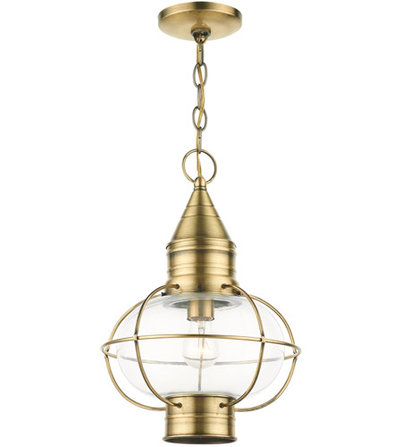 Livex 26906-01 Newburyport 1 Light 11 inch Antique Brass Outdoor Pendant Lantern alternative photo thumbnail