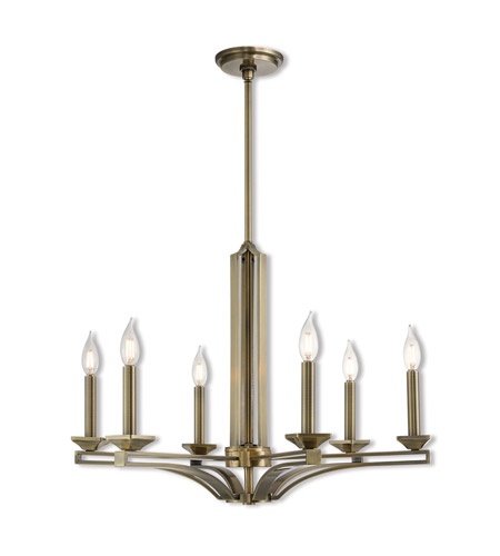 Livex 40056 01 Trumbull 6 Light 26 Inch Antique Brass Chandelier Ceiling  Light