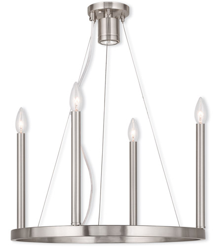 Livex 40244-91 Alpine 5 Light 20 inch Brushed Nickel Chandelier Ceiling Light photo