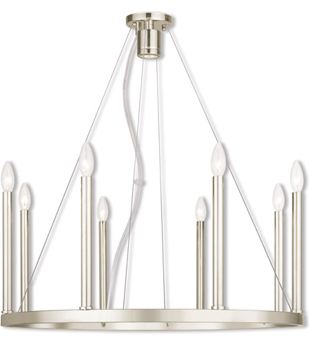 Livex 40247-35 Alpine 8 Light 28 inch Polished Nickel Chandelier Ceiling Light photo