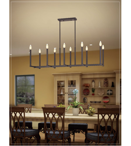 Livex 40259-07 Alpine 10 Light 43 inch Bronze Linear Chandelier Ceiling Light photo