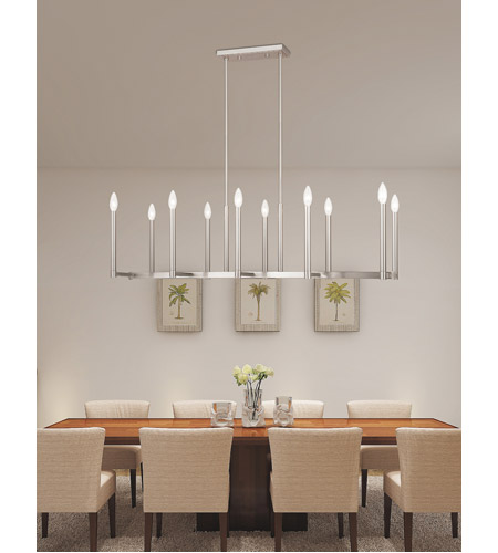Livex 40259-91 Alpine 10 Light 43 inch Brushed Nickel Linear Chandelier Ceiling Light photo