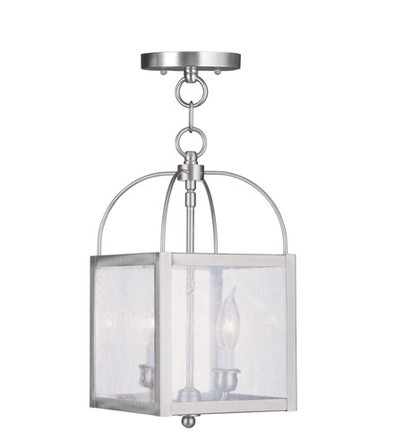 Livex 4045-91 Milford 2 Light 8 inch Brushed Nickel Pendant/Ceiling Mount Ceiling Light photo