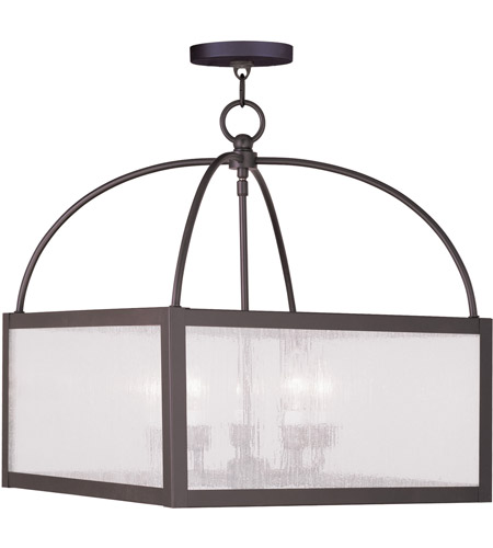 Livex 4057-07 Milford 5 Light 18 inch Bronze Chandelier Ceiling Light in Clear Seeded photo