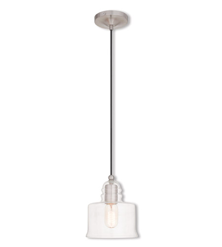 Livex 40606-91 Signature 1 Light 7 inch Brushed Nickel Mini Pendant Ceiling Light photo thumbnail