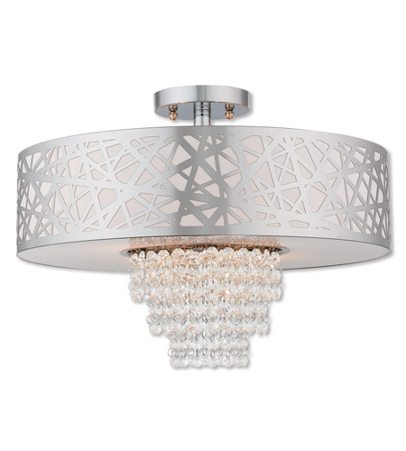 Livex 40764-05 Allendale 4 Light 18 inch Polished Chrome Semi Flush Mount Ceiling Light photo