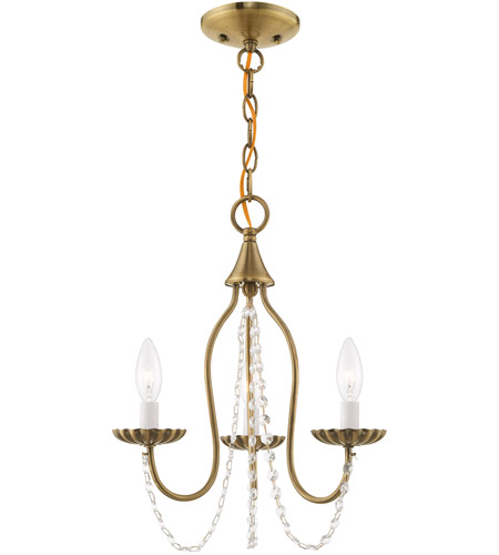 Livex 40793-01 Alessia 3 Light 13 inch Antique Brass Mini Chandelier Ceiling Light photo
