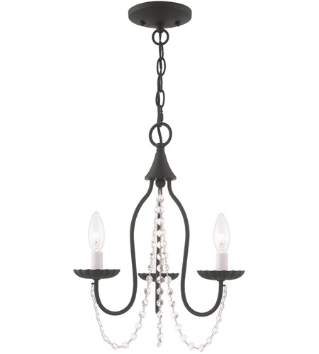 Livex 40793-04 Alessia 3 Light 13 inch Black Mini Chandelier Ceiling Light photo
