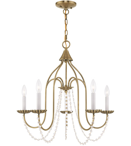 Livex 40795-01 Alessia 5 Light 24 inch Antique Brass Chandelier Ceiling Light photo