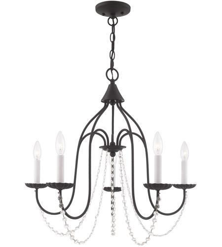Livex 40795-04 Alessia 5 Light 24 inch Black Chandelier Ceiling Light photo