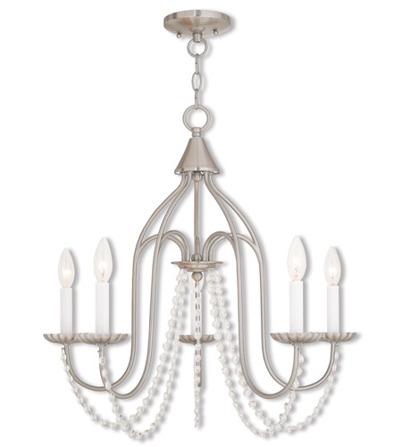 Livex 40795-91 Alessia 5 Light 24 inch Brushed Nickel Chandelier Ceiling Light photo