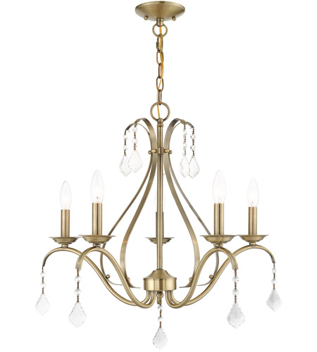Livex 40845-01 Caterina 5 Light 24 inch Antique Brass with Clear Crystals Chandelier Ceiling Light photo thumbnail