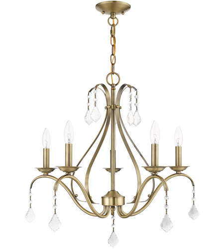 Livex 40845-01 Caterina 5 Light 24 inch Antique Brass with Clear Crystals Chandelier Ceiling Light alternative photo thumbnail